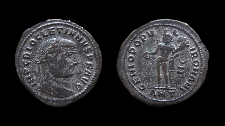 Ancient Coins - Diocletian, 284-305 AD. Silvered AE Follis. Antioch mint. 27 mm.