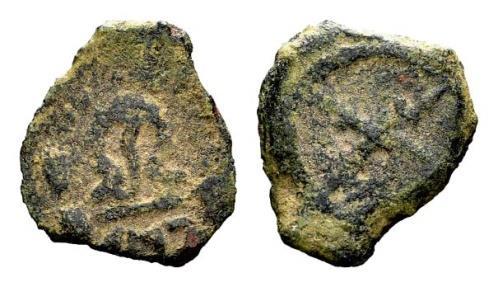 Ancient Coins - JUDAEA, Herod I (the Great). 40-4 BCE. Æ 1/2 Prutah , Jerusalem mint, Rare, Beautiful example!!