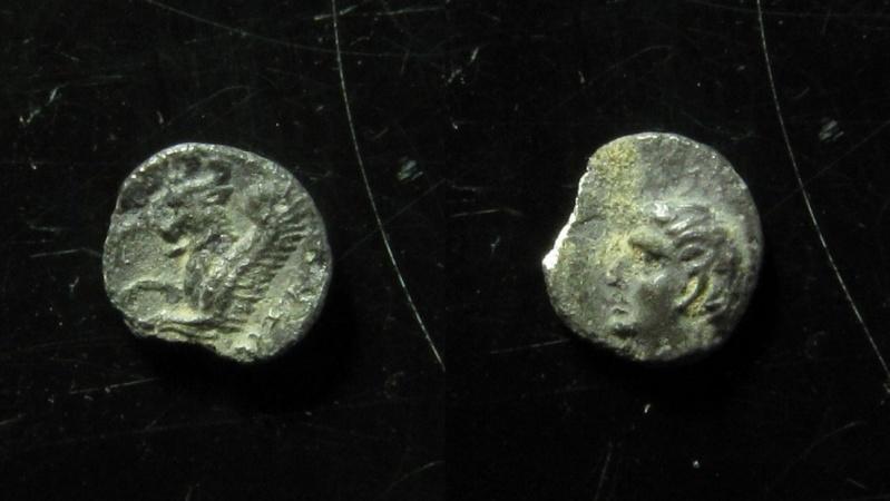 Ancient Coins - Judaea. Persian period. Hezekiah. 375-333 BCE. Silver Hemiobol(0.2g).  EF+EX-RARE!
