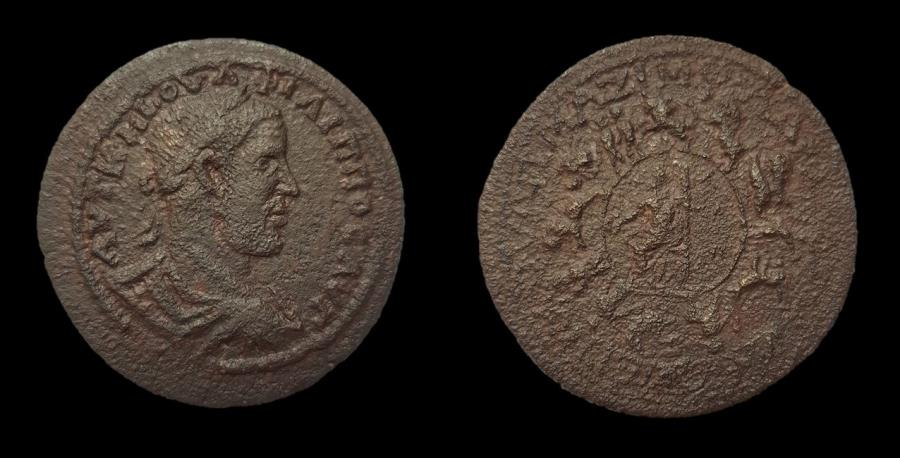 Ancient Coins - Extremely Rare Huge Zodiacal Medallion of Philip I. AE 44 mm.