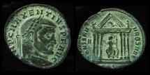 Ancient Coins - MAXENTIUS, 312 AD. AE FOLLIS. TEMPLE.