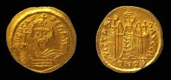 Ancient Coins - Byzantine, Phocas, Gold Solidus, 19 mm. Thessalonica (?) mint.