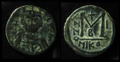 Ancient Coins - Maurice Tiberius, 582-602 AD, Mint of Nicomedia. AE Follis. Year One