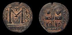 "Ancient Coins - Islamic, Umayyad Caliphate. temp. AE 28 mm, Fals. Jerash (Gerasa) mint. VF. Rare type with ""tayyib"" countermark."