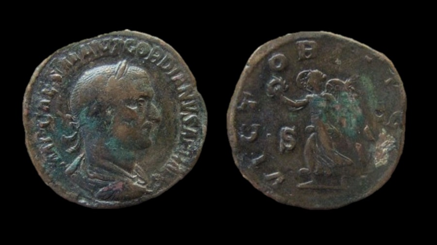 Ancient Coins - Gordian I. AE Sestertius, 29 mm. April 208, very rare