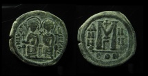 Ancient Coins - Justin II and Sophia, AE Follis. 29 mm.