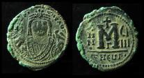 Ancient Coins - Maurice Tiberius, 582-602 AD, AE Follis. Antioch as Theopolis.