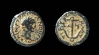 Ancient Coins - Judaea. Tiberias. Trajan, 98-117 AD. AE 14 mm.