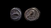 Ancient Coins - Phoenicia. Tyre. Silver 1/12 shekel. Circa 425-400 BC. 8 mm.  Superb coin!!!!