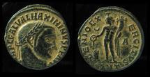 Ancient Coins - MAXIMINUS II, 310-313 AD. AE FOLLIS. GENIO EXERCITUS. Antioch Mint, Desert patina!!!