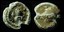 Ancient Coins - BYZANTINE LEAD BULLA, 22MM, 6TH CENTURY AD