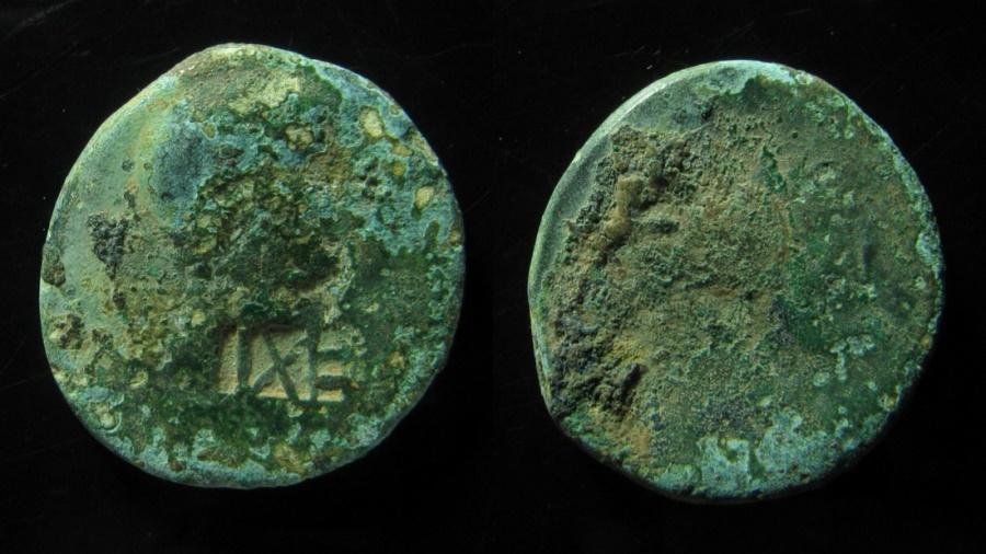 "Ancient Coins - JUDAEA, AGRIPPA II AE 24mm. CAESAREA MARITIMA. 10TH LEGION COUNTERMARK ""LXF""."