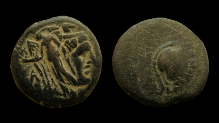 Ancient Coins - Nabatean Kingdom. Aretas II, 103-96 BC. strucked on the coin of Ptolemy II. AE 21 mm.