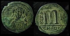 Ancient Coins - Maurice Tiberius, 582-602 AD, AE Follis. Antioch as Theopolis.Very garbled legend