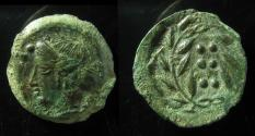 Ancient Coins - SICILY, Himera. Before 407 BC. Æ Hemilitron