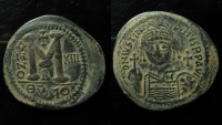 Ancient Coins - Justinian I, AE Huje Follis. Antioch mint, Rare
