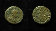 World Coins - IRREGULAR IMITATION OF LATE ROMAN COIN, 10MM, CRUDE LEGEND!