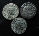 Ancient Coins - Lot of 3 Maximianus large bronze follis.  28mm, VF+