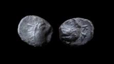 Ancient Coins - Judaea, Yehud. Silver half-maah-obol. 6.5 mm. Circa 333 - 302 BC.