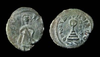 Ancient Coins - Arab-Byzantine, standing Caliph coinage. Damascus mint. AE 21 mm.
