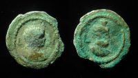 Ancient Coins - EGYPT, ALEXANDRIA. FESTIVAL OF ISIS. ANTINOUS. LEAD TESSERA: ANTINOUS AND SERAPIS