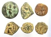 Ancient Coins - Lot of 6 Bronze Arab-Byzantine and Umayyad coins.