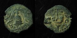 Ancient Coins - HEROD ARCHELAUS . VERY SMALL AND IRREGULAR PRUTAH, CRUDE STYLE!