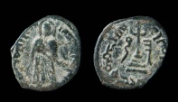 Ancient Coins - Arab-Byzantine, standing Caliph coinage. Uncertain mint. AE 19 mm.