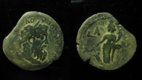 Ancient Coins - Pertinax Æ Diobol of Alexandria, Egypt. Year 1 (= 193). 7.3g, 24mm, Unpublished type!!!Maybe unique!!!