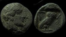 Ancient Coins - Attica, Athens. Silver Drachm. (4.2 g, 18 mm). Doublestruck.