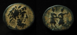 Ancient Coins - Syria, Coele-Syria. Chalkis. Ptolemaios, tetrarch. AE 19mm.  Countermark