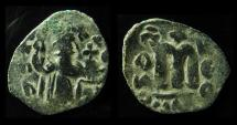 Ancient Coins - UMAYYAD, ARAB-BYZANTINE. AE Fals , Pre-Reform Coinage, Imitation OF CONSTANS II.