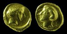 Ancient Coins - KYRENE. Kyrenaica. 331-322 B.C. Gold 1/10 Stater. (1.6gm) Rare!
