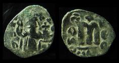 Ancient Coins - UMAYYAD, ARAB-BYZANTINE. AE Fals , Pre-Reform Coinage, Imitation OF CONSTANS II.