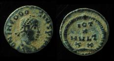 "Ancient Coins - Theodosius I AE4, In first line of legend: instead of ""VOT"" there is  ""IOT"""