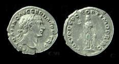 Ancient Coins - TRAJAN, 98 - 117 AD. Silver Denarius. Spes Holding Flower, EF!