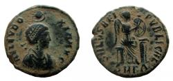 Ancient Coins - Aelia Eudoxia. Augusta, 400-404 AD. AE 18 mm. Cyzicus mint.