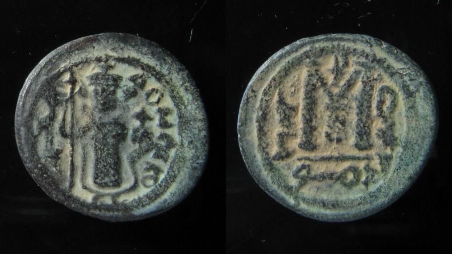 Ancient Coins - Arab-Byzantine AE 20 mm, Fals. Dimashq (Damascus), AD 680.