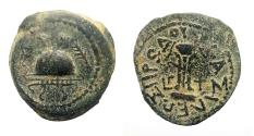 Ancient Coins - Judaea, Herod I AE 25 mm, 8 Prutah. Samarian mint.