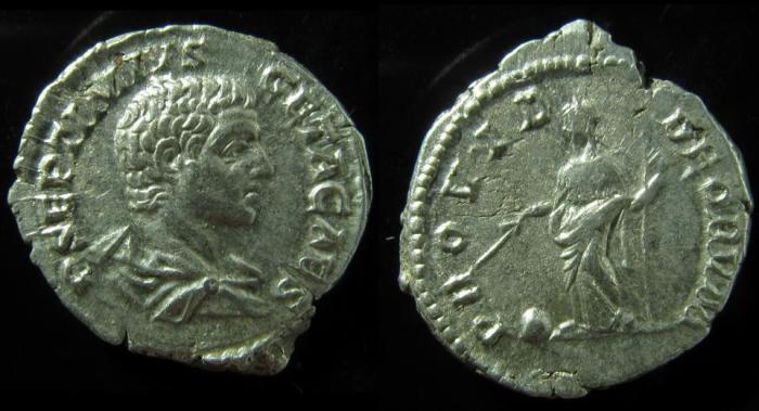 Ancient Coins - Geta, as Caesar,Silver Denarius. 203-208 AD.