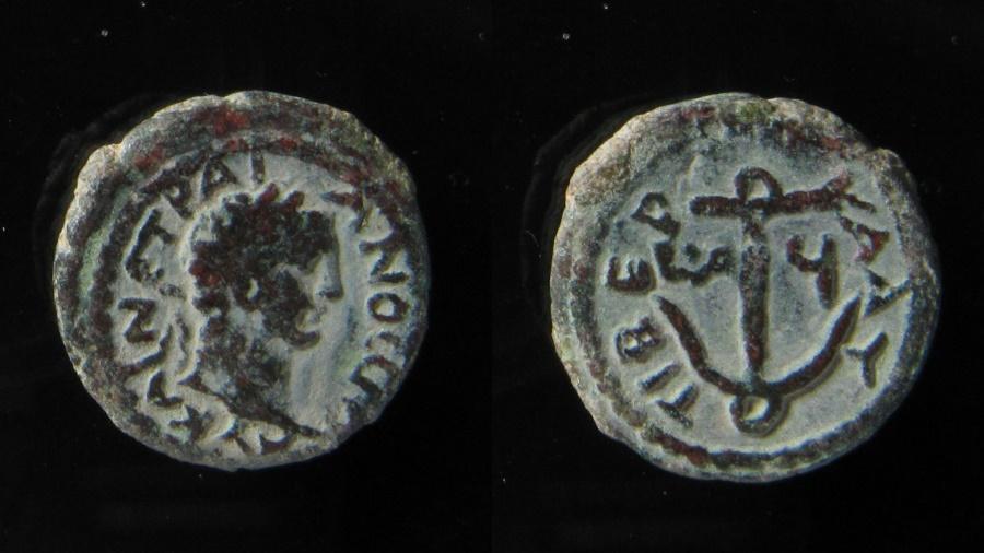 Ancient Coins - Judaea, Trajan (98 - 117 AD) AE 15 mm. Tiberias. Full Legend.