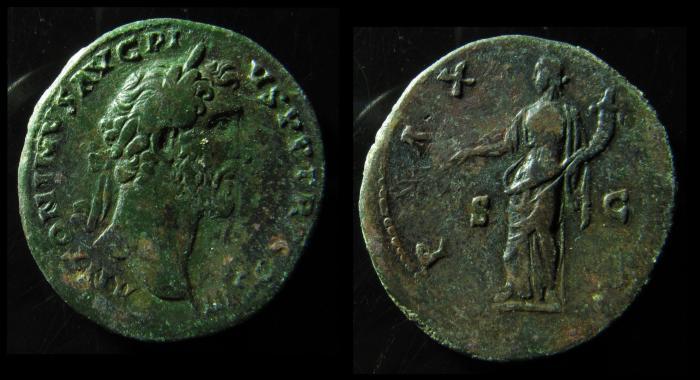 Ancient Coins - Antoninus Pius (AD 138-161). Orichalcum sestertius. Rome, ca. AD 141-143.