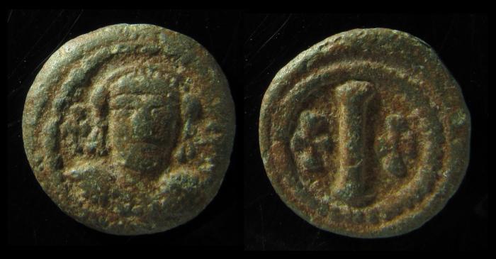 Ancient Coins - MAURICE TIBERIUS, 582-602 AD. PB. DECANUMMIUM. Italian Mint. Scarce.