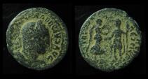 Ancient Coins - JUDAEA, Caesarea. Trajan Decius, 249-251 AD. 30mm, Decius Receiving Wreath from Nike