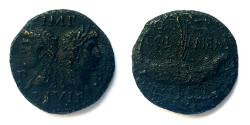 Ancient Coins - Augustus with Marcus Agrippa. AE 26 mm, dupondius. Gaul, Nemausus.