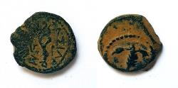 Ancient Coins - Judaea, Herod I (40 - 4BC). AE prutah. Beautiful desert patina. Rare!
