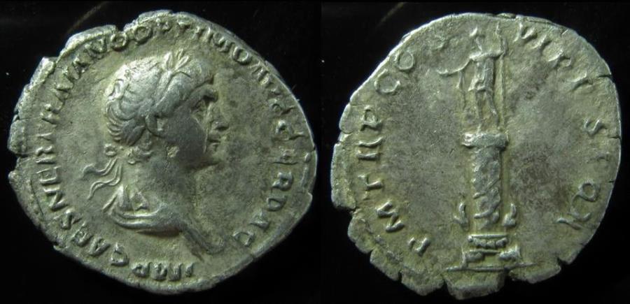 Ancient Coins - Trajan (AD 98-117). silver denarius , Rare