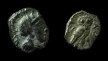 """Ancient Coins - Philistia,  Silver Ma'eh / """"Obol"""", circa 380 until 332 B.C (0.43 g.), Superb & Rare!!!!"""