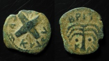 Ancient Coins - Judaea, Antonius Felix.  AE 16 mm, irregular prutah.