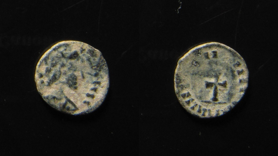 World Coins - Vandals, imitation of Late Roman coin. AE 12 mm.